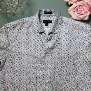 [Zylos] Wrinkle Free Floral Button Down Shirt